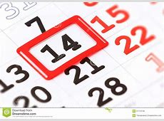 Sheet Of Wall Calendar With Red Mark On 14 February Stock