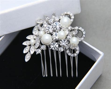 Wedding Hair Comb, Swarovski Pearl Comb, Rhinestone Bridal