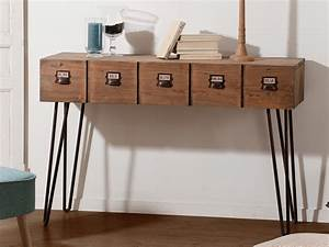 Console Avec Tiroir : console en bois et m tal avec 1 tiroir l120 5 cm donna ~ Teatrodelosmanantiales.com Idées de Décoration
