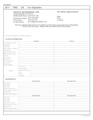 fillable 1040 us tax organizer 2013 fax email print