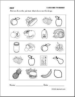 Worksheet: Fruit Categories (preschool/primary) abcteach
