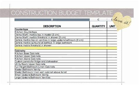 residential construction budget template excel unique