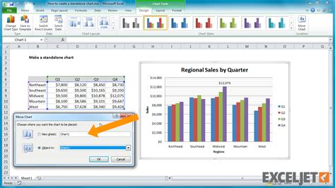 excel tutorial   create  standalone chart