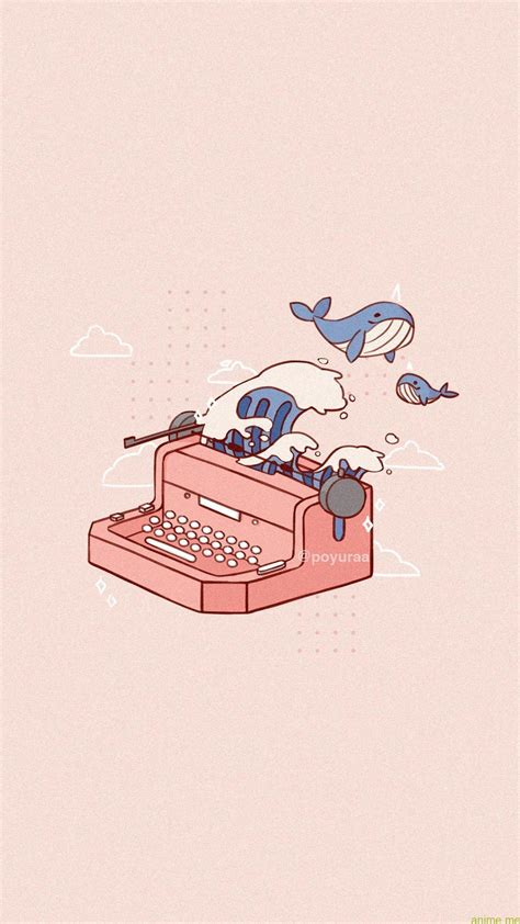Download, share or upload your own one! Cute Pink Aesthetic Narwhal Wave Typewriter Doodle Telephone Wallpaper#aesthetic #cu... - Anime Blog