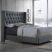 king size bed headboard Baxton Studio Katherine Transitional Gray Fabric ...