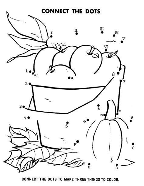 dot to dot activity page apples corn pumpkin sunday