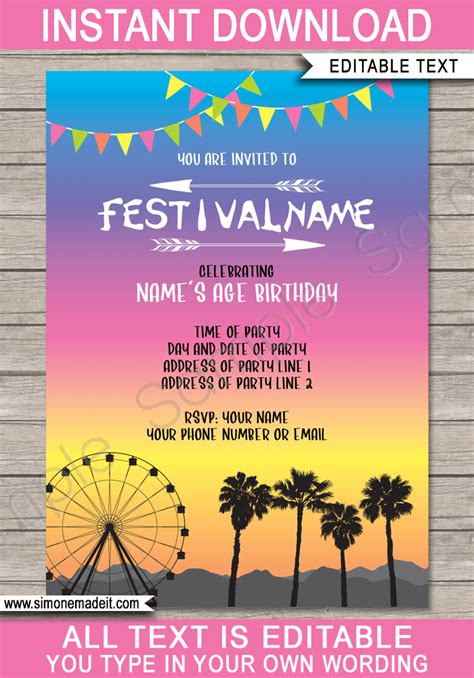 coachella party printables decorations invitations
