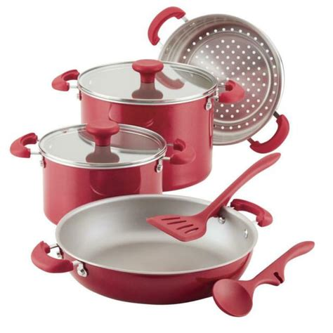 cookware rachael ray piece aluminum delicious stacking nonstick stackable shimmer teal pans pots sets stick non safe qvc meyer oven