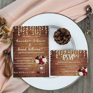 Sample Rsvp Wedding Cards Rustic Wood Stringlight Burgundy Floral Mason Jar Wedding