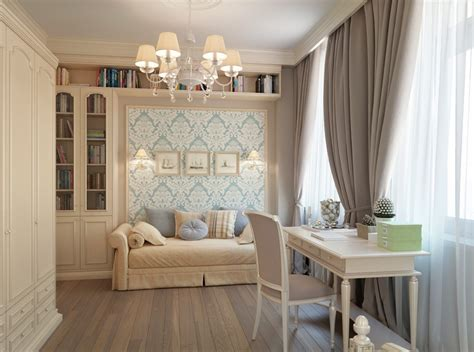 blue wallpaper taupe brown curtains bedroom interior