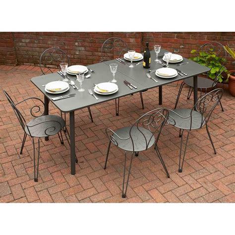 glendale ustica 6 seater extending dining set garden