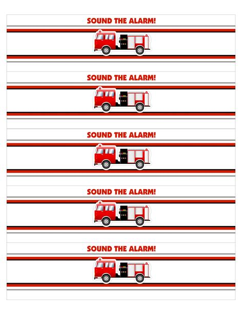 Free Printable Fire Truck Water Bottle Labels