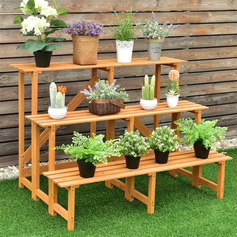 wooden outdoor wide flower shelf pot step ladder plant