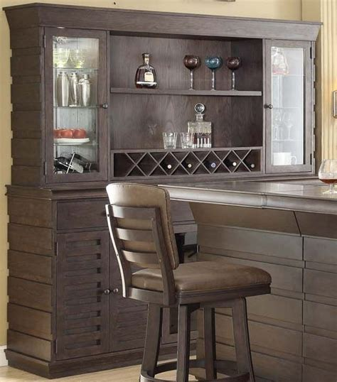 Back Bar Furniture by Toscana Distressed Birch Deluxe Back Bar With Hutch From
