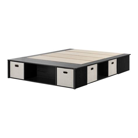 white storage bed king south shore black oak platform bed with