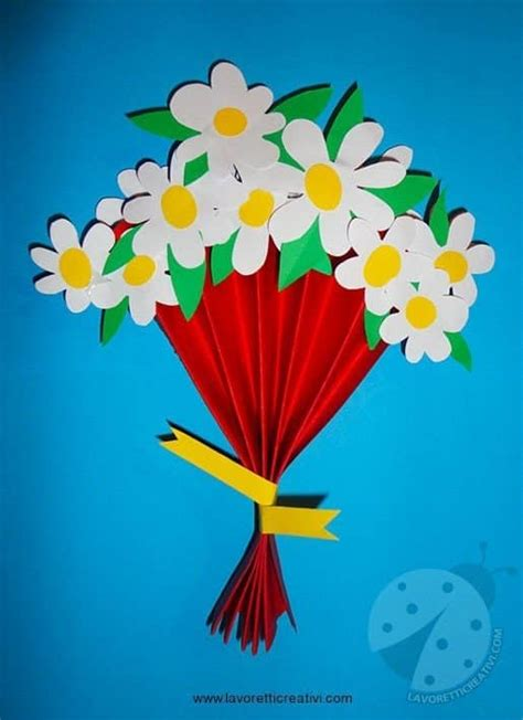lavoretti festa mamma bouquet  margherite lavoretti
