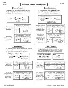 Harmonic Motion Equations Worksheet For 10th  12th Grade