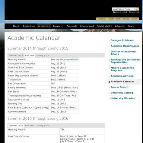 university colorado academic calendar printable calendar