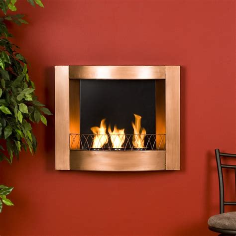 copper finish wall mount gel fuel fireplace burns clean