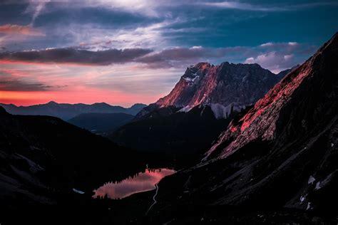3840x2160 mountain ranges landscape orange sky