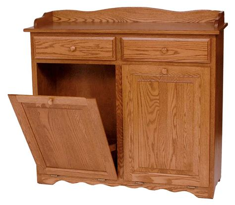 double garbage can cabinet four seasons furnishings amish made furniture solid wood
