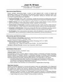 psychology graduate resume exles resume format psychology graduate school resume