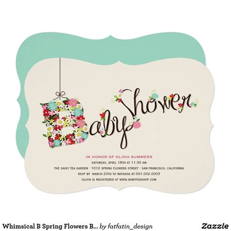 whimsical  spring flowers baby shower invite zazzlecom