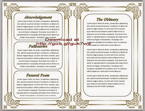 Free Downloadable Obituary Templates by Free Obituary Template Cyberuse