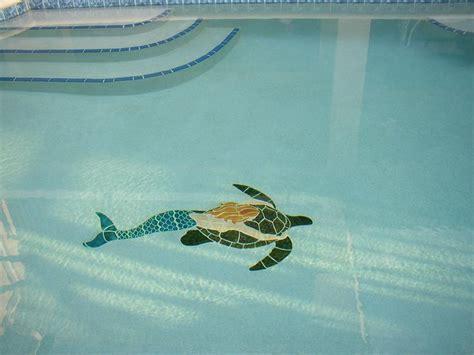 ceramic mermaid  turtle large mosaic