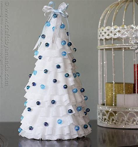 blue  white coffee filter craft tree