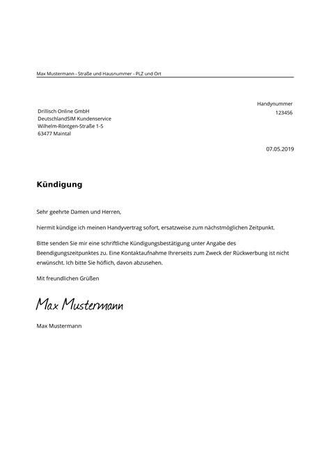deutschlandsim kuendigung vorlage mit rufnummernmitnahme