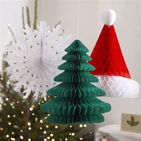 three christmas honeycomb hanging decorations by ginger ray notonthehighstreet com