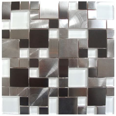 stainless steel tile mosaic tile modern cobble stainless steel with white