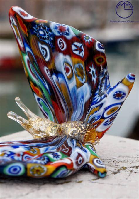 ladari in vetro di murano farfalla murano vetro artistico con murrina e oro 24kt