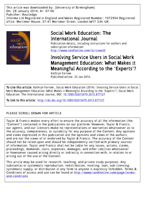 involving service users  social work management