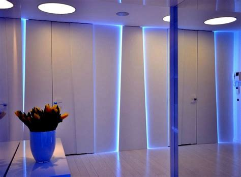 Magical LED lighting effects in a modern apartment in