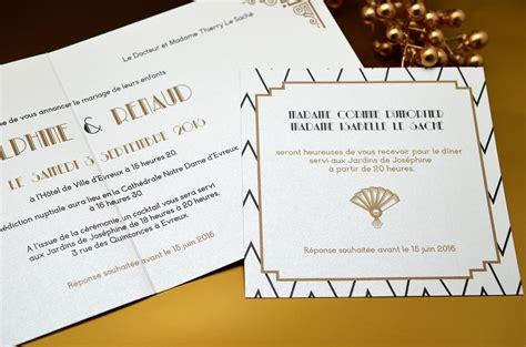 faire part gatsby deco vintage mariage papeterie l atelier d elsa