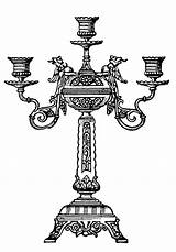 Candelabra Clip Domain Clipart Ornate Cliparts Graphics Thegraphicsfairy Silhouette Library Fairy sketch template