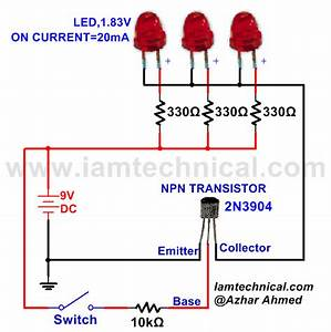 Npn Transistor With Three Led U0026 39 S As A Switch