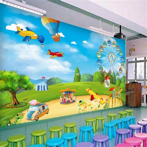 custom photo wallpaper  cartoon playground children room