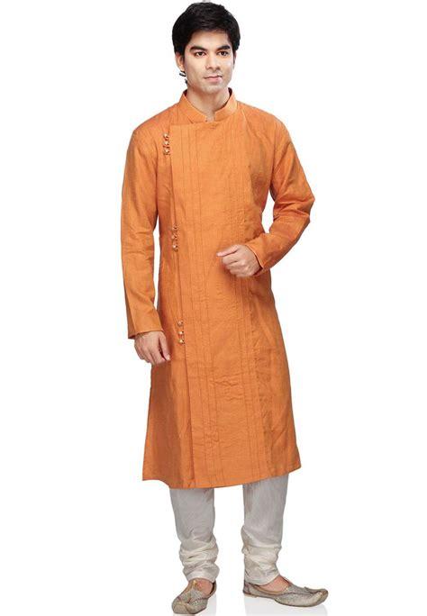 Orange Pure Linen Readymade Kurta With Churidar MUU2 ...