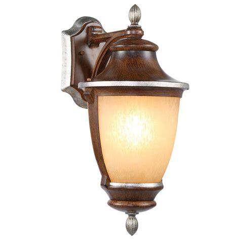 hton bay 1 light mossoro walnut outdoor wall mount