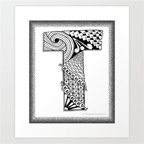 zentangle  monogram alphabet illustration art print  vermontgreetings society