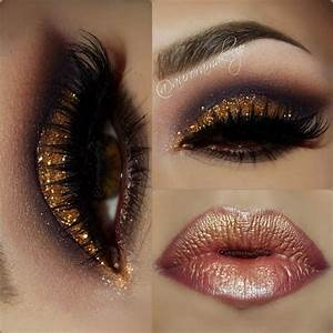 Gold Glitter Dramatic Smokey Eye Makeup