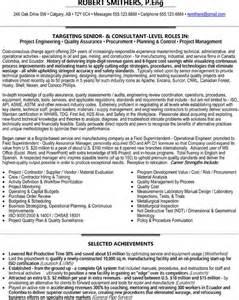 senior qa manager resume senior project engineer consultant quality assurance procurement planning