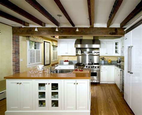 exposed beam vaulted ceiling kitchen traditional  grey
