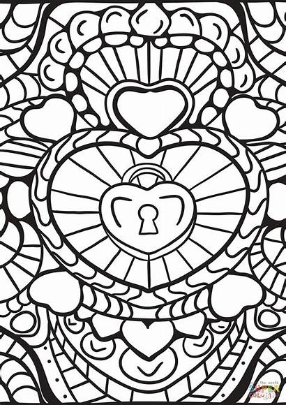 Coloring Abstract Pages Patterns Heart Printable Adults