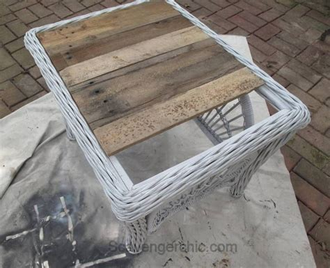 replace  glass tabletop   rustic wood tray