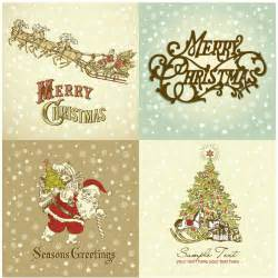 vintage merry greeting cards vector vector graphics