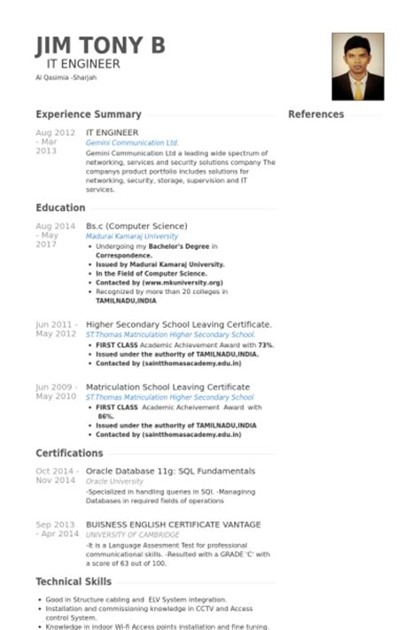 Resume Format For Experience Holder by It Engineer Resume Sles Visualcv Resume Sles Database